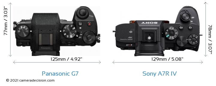 Panasonic G7 vs Sony A7R IV Camera Size Comparison - Top View