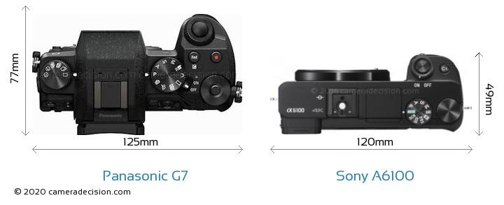 Panasonic G7 vs Sony A6100 Camera Size Comparison - Top View