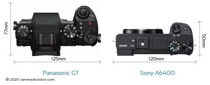 Panasonic G7 vs Sony A6400 Camera Size Comparison - Top View