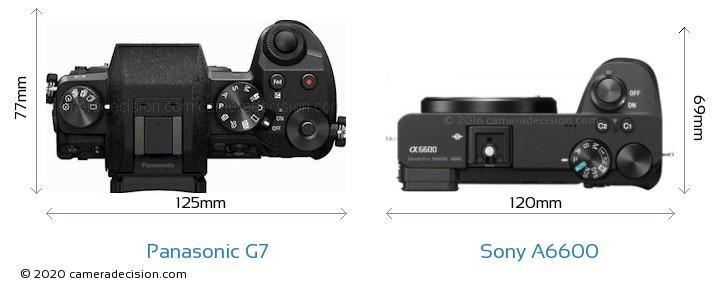 Panasonic G7 vs Sony A6600 Camera Size Comparison - Top View