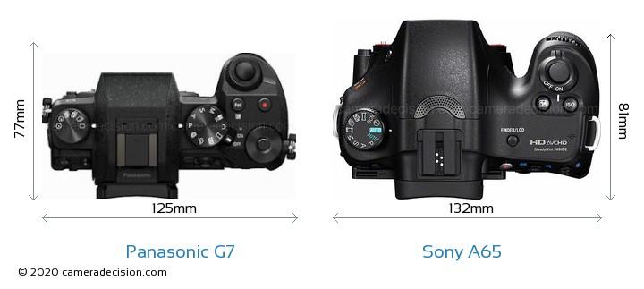 Panasonic G7 vs Sony A65 Camera Size Comparison - Top View