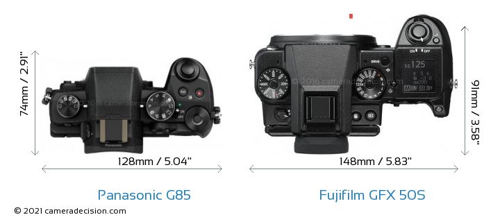 Panasonic G85 vs Fujifilm GFX 50S Camera Size Comparison - Top View