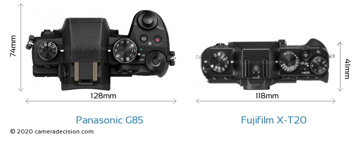 Panasonic G85 vs Fujifilm X-T20 Camera Size Comparison - Top View