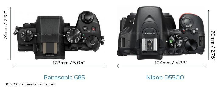 Panasonic G85 vs Nikon D5500 Camera Size Comparison - Top View