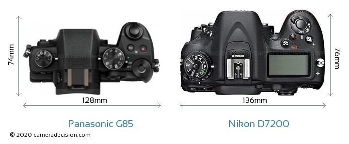 Panasonic G85 vs Nikon D7200 Camera Size Comparison - Top View