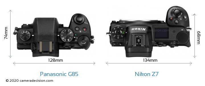 Panasonic G85 vs Nikon Z 7 Camera Size Comparison - Top View