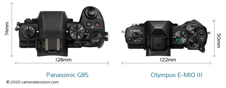 Panasonic G85 vs Olympus E-M10 MIII Camera Size Comparison - Top View
