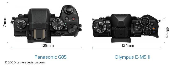 Panasonic G85 vs Olympus E-M5 II Camera Size Comparison - Top View