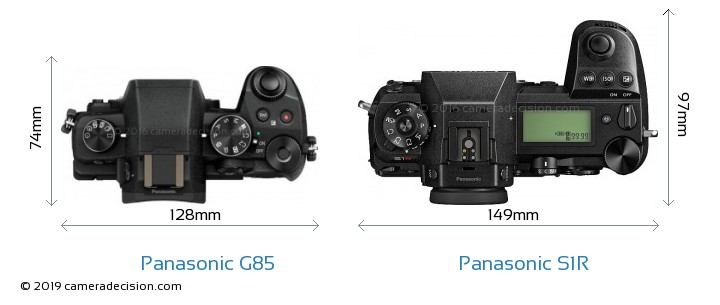 Panasonic G85 vs Panasonic S1R Camera Size Comparison - Top View