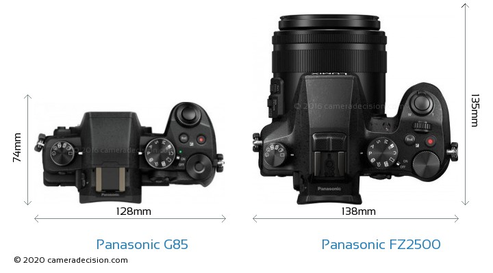 Panasonic G85 vs Panasonic FZ2500 Camera Size Comparison - Top View