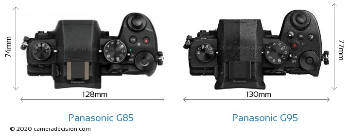 Panasonic G85 vs Panasonic G95 Camera Size Comparison - Top View