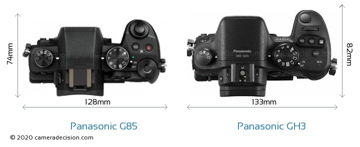 Panasonic G85 vs Panasonic GH3 Camera Size Comparison - Top View