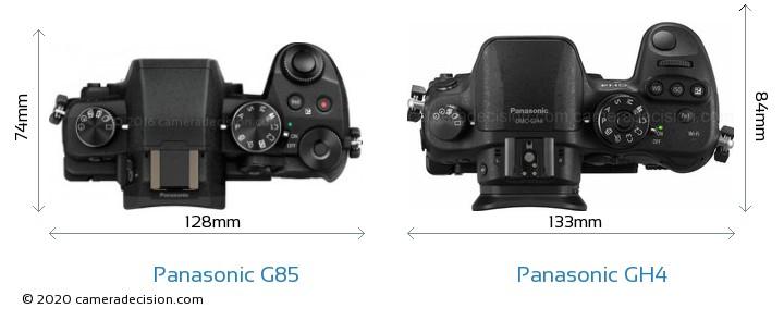 Panasonic G85 vs Panasonic GH4 Camera Size Comparison - Top View