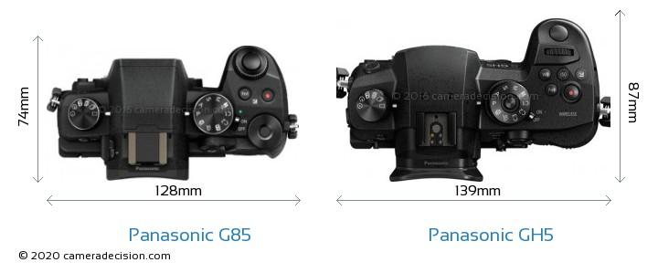 Panasonic G85 vs Panasonic GH5 Camera Size Comparison - Top View