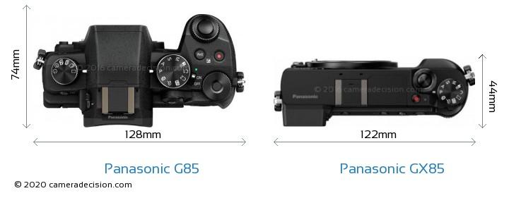 Panasonic G85 vs Panasonic GX85 Camera Size Comparison - Top View