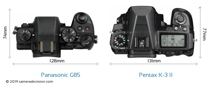 Panasonic G85 vs Pentax K-3 II Camera Size Comparison - Top View