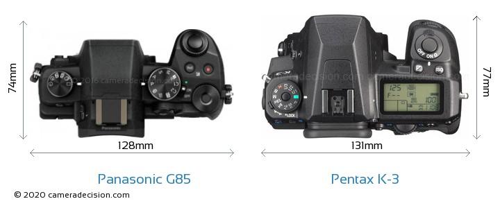 Panasonic G85 vs Pentax K-3 Camera Size Comparison - Top View