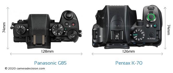Panasonic G85 vs Pentax K-70 Camera Size Comparison - Top View