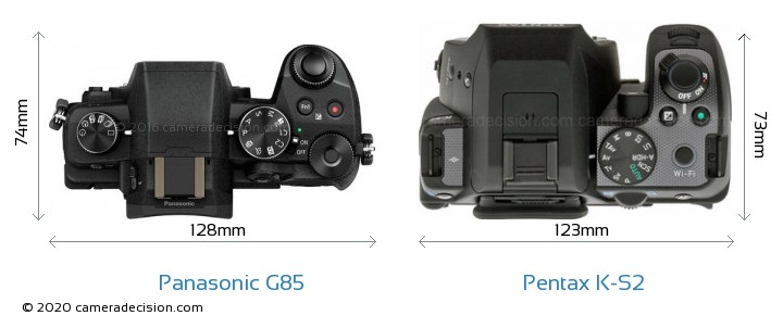 Panasonic G85 vs Pentax K-S2 Camera Size Comparison - Top View