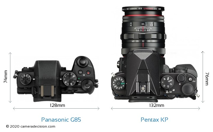 Panasonic G85 vs Pentax KP Camera Size Comparison - Top View