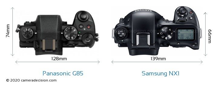 Panasonic G85 vs Samsung NX1 Camera Size Comparison - Top View