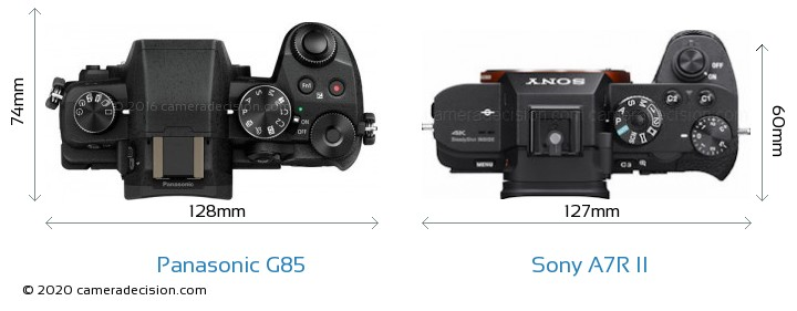 Panasonic G85 vs Sony A7R II Camera Size Comparison - Top View