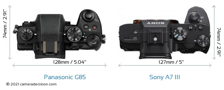 Panasonic G85 vs Sony A7 III Camera Size Comparison - Top View