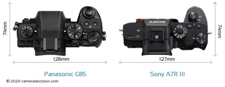 Panasonic G85 vs Sony A7R III Camera Size Comparison - Top View
