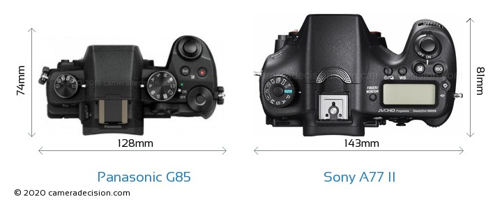 Panasonic G85 vs Sony A77 II Camera Size Comparison - Top View