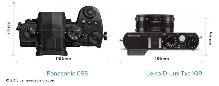 Panasonic G95 vs Leica D-Lux Typ 109 Camera Size Comparison - Top View