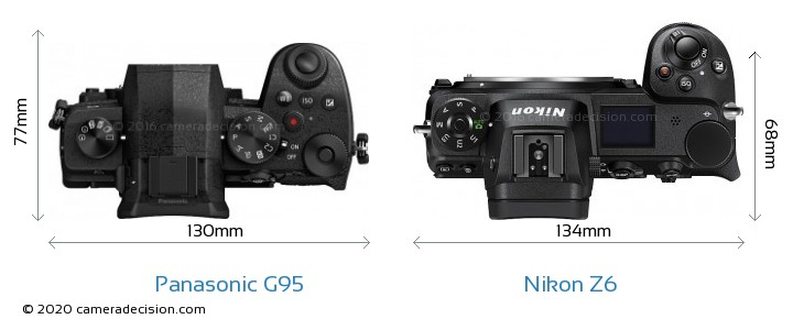 Panasonic G95 vs Nikon Z6 Camera Size Comparison - Top View