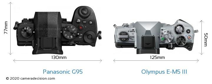 Panasonic G95 vs Olympus E-M5 III Camera Size Comparison - Top View