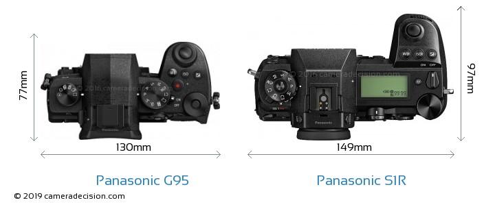 Panasonic G95 vs Panasonic S1R Camera Size Comparison - Top View