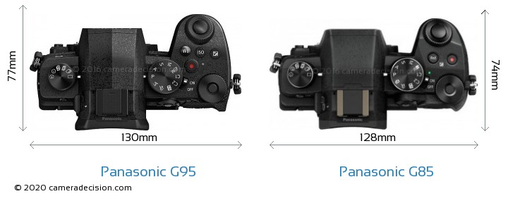 Panasonic G95 vs Panasonic G85 Camera Size Comparison - Top View