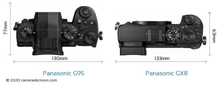 Panasonic G95 vs Panasonic GX8 Camera Size Comparison - Top View