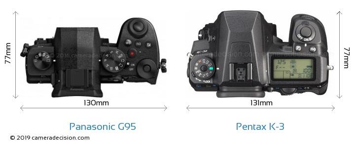 Panasonic G95 vs Pentax K-3 Camera Size Comparison - Top View