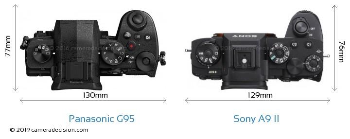 Panasonic G95 vs Sony A9 II Camera Size Comparison - Top View