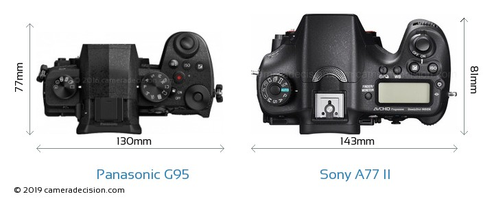 Panasonic G95 vs Sony A77 II Camera Size Comparison - Top View