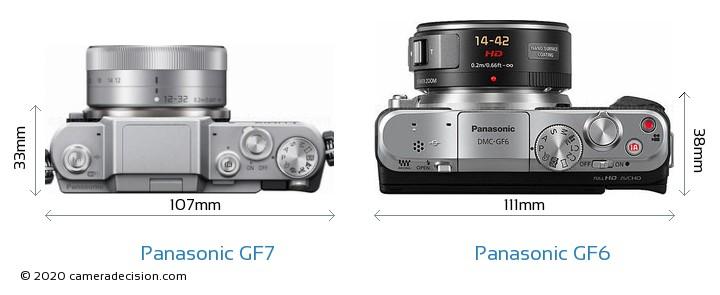 Panasonic GF7 vs Panasonic GF6 Camera Size Comparison - Top View