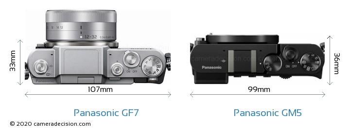 Panasonic GF7 vs Panasonic GM5 Camera Size Comparison - Top View
