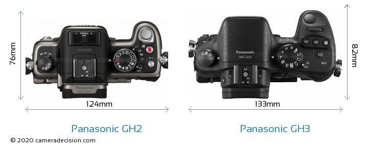 Panasonic GH2 vs Panasonic GH3 Camera Size Comparison - Top View