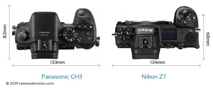 Panasonic GH3 vs Nikon Z7 Camera Size Comparison - Top View