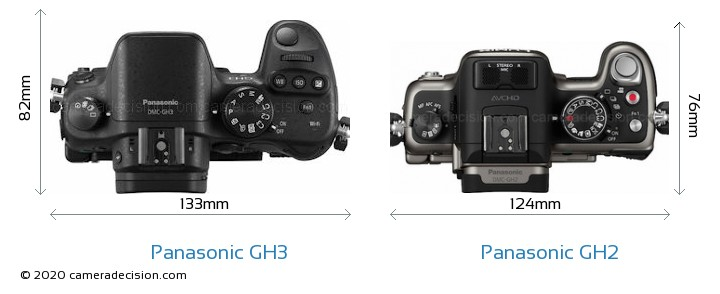 Panasonic GH3 vs Panasonic GH2 Camera Size Comparison - Top View