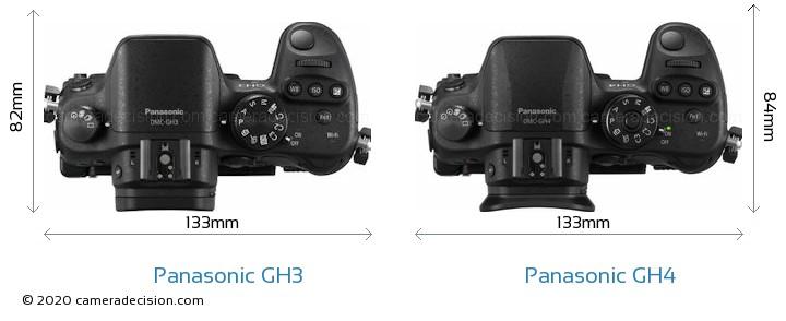 Panasonic GH3 vs Panasonic GH4 Camera Size Comparison - Top View