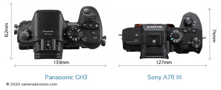 Panasonic GH3 vs Sony A7R III Camera Size Comparison - Top View