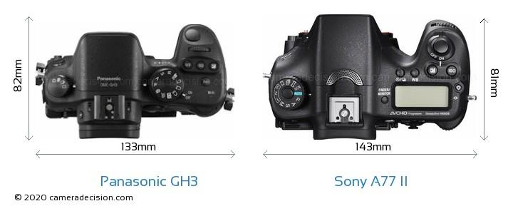 Panasonic GH3 vs Sony A77 II Camera Size Comparison - Top View
