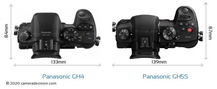 Panasonic GH4 vs Panasonic GH5S Camera Size Comparison - Top View