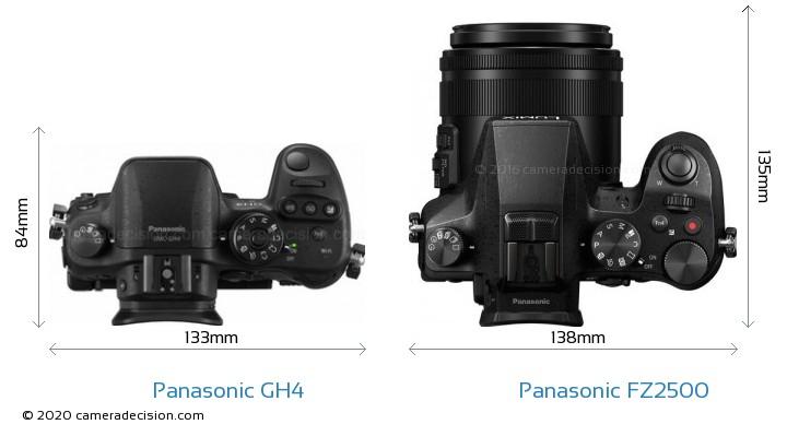 Panasonic GH4 vs Panasonic FZ2500 Camera Size Comparison - Top View