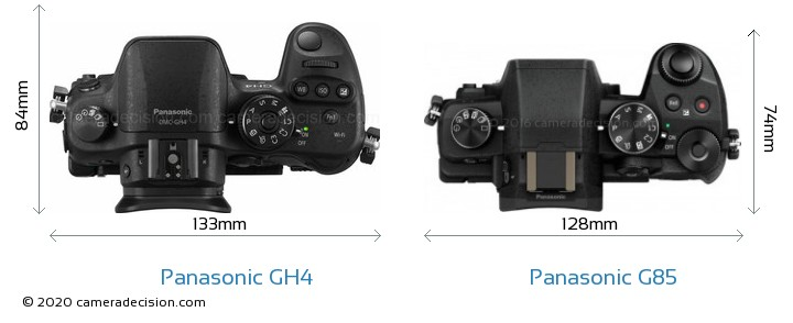 Panasonic GH4 vs Panasonic G85 Camera Size Comparison - Top View