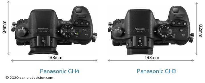 Panasonic GH4 vs Panasonic GH3 Camera Size Comparison - Top View